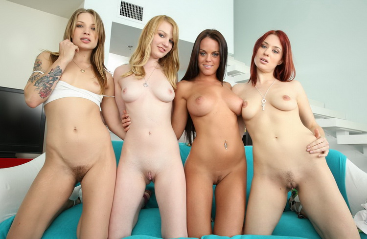Alyssa Branch, Rahyndee James, Jessica Ryan,, Maci More ~ Four lesbians have a wild orgy ~ PartyOfThree/BangBros ~ HD 720p